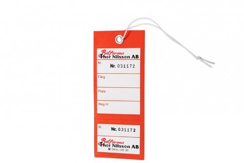 Nøkkelmerking med kvittering med 2 farge trykk en side
